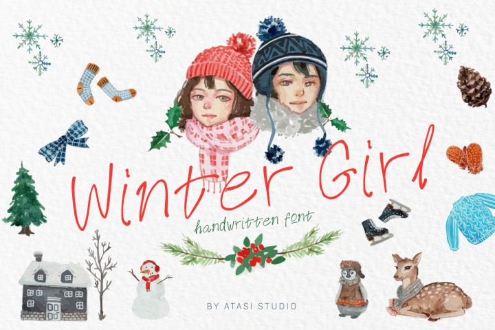 Winter Girl Font & Watercolor Winter Theme Bundle