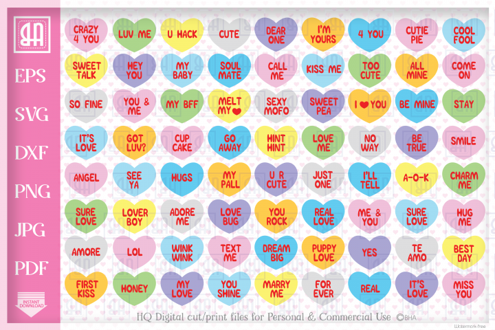 Valentines Candy Hearts SVG, Valentines hearts bundle SVG