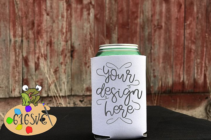 White Can Cooler Mockup