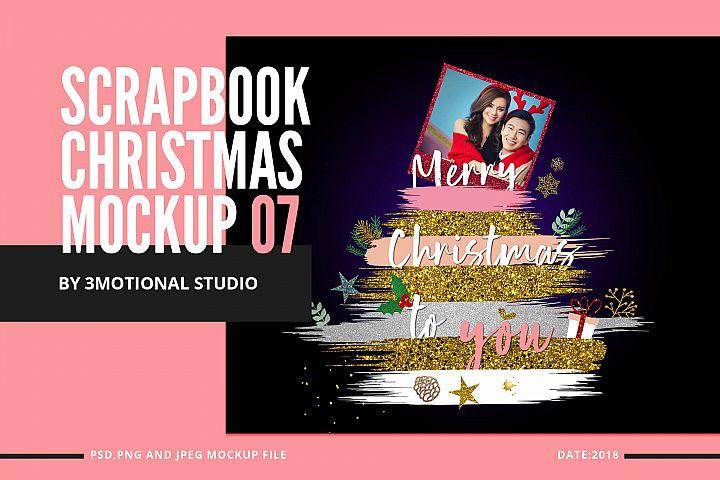 Glitter Scrapbook Christmas Clipart Mockup 07