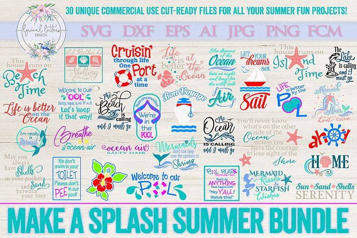 Make a Splash Summer Bundle of 30 SVG DXF Cut Files