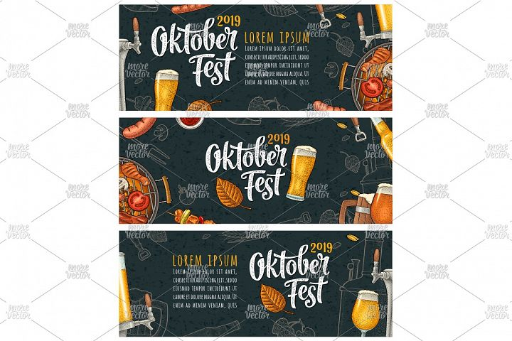 Horizontal posters to oktoberfest 2019 festival engraving