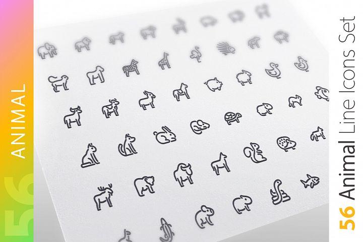 Animal Line Icons Set