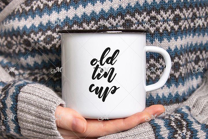 Enamel Coffee Mug In Hands Mock-up