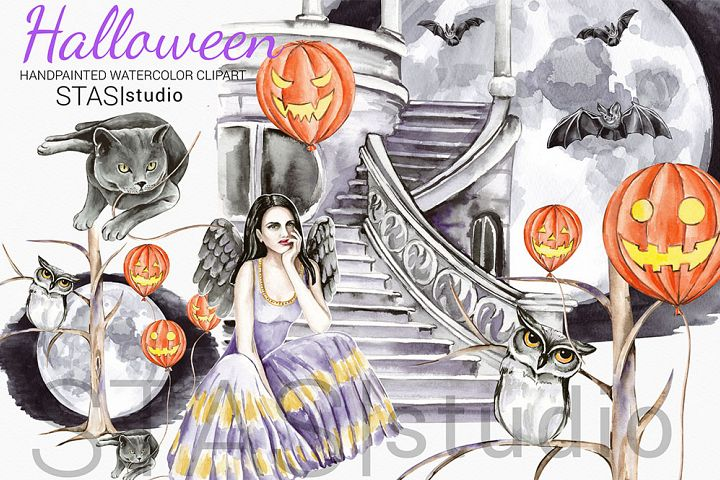 Halloween Watercolor Characters Clipart