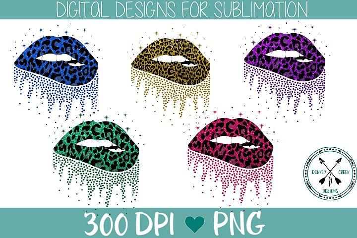 Leopard and Glitter Biting Lips Sublimation PNG Bundle