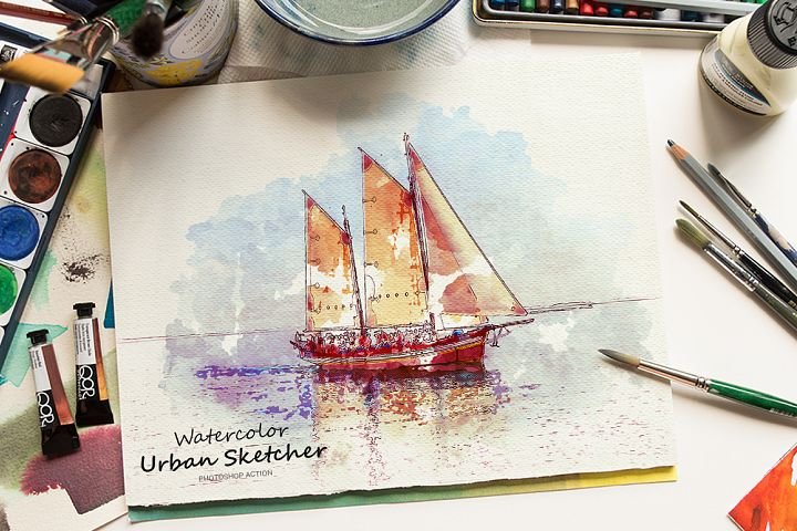 Watercolor Urban Sketcher Photoshop Action
