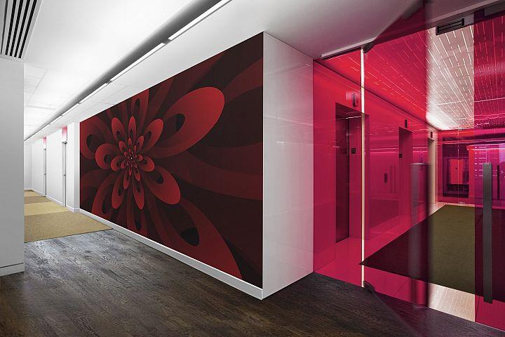 Abstract 3D Digital Modern Red Floral Design Background