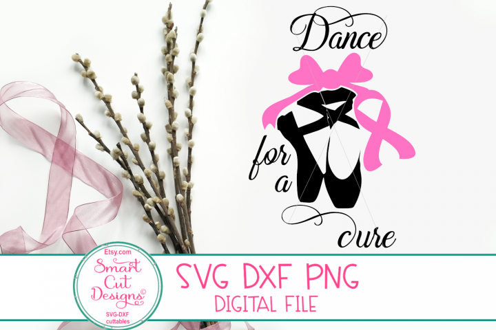 Breast Cancer SVG, Dance For A Cure SVG, Ballet, Pink Ribbon