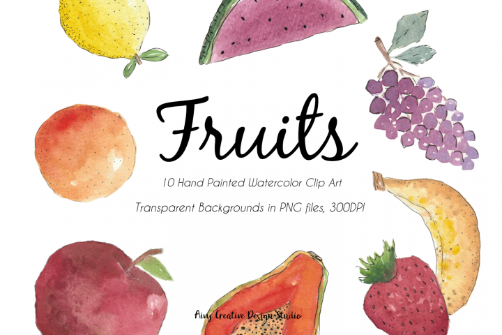 20 Hand Drawn Watercolour Fruits Abstract Clip Art Bundle