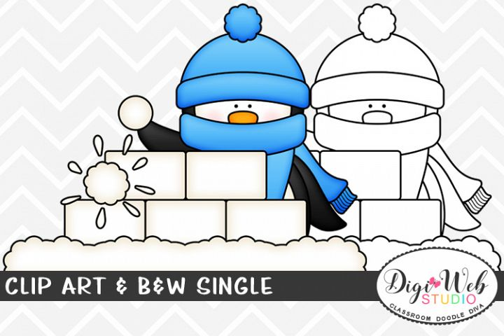 Clip Art & B&W Single - Winter Penguin In A Snowball Fight