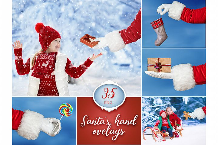 35 Santa Claus Hand Overlays