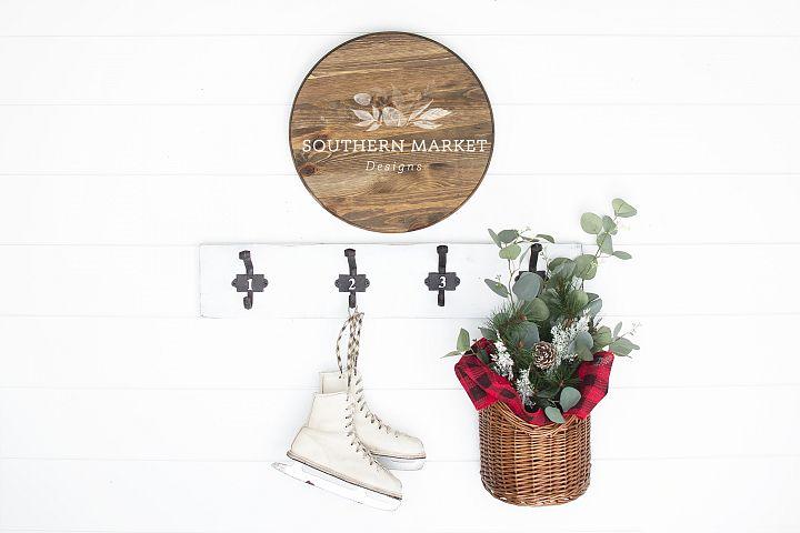 Christmas Wood Round Sign Mock Up Styled Photography