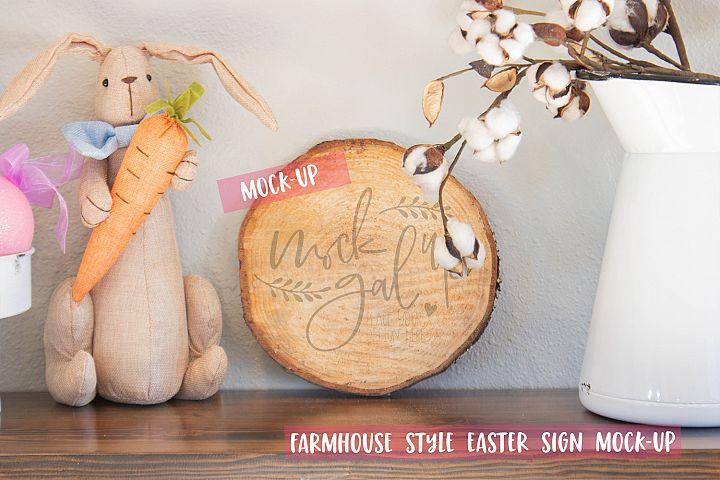 Easter Sign Mock Up - Round Wood Slice No. 1 - Spring Mockup