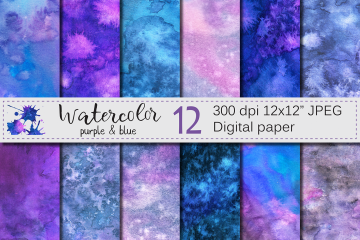Purple and Blue Watercolor Digital Paper, Texture