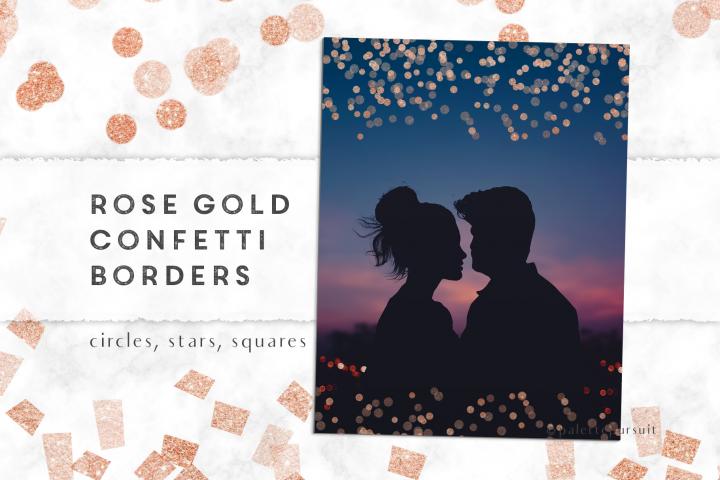 Rose gold confetti borders clipart