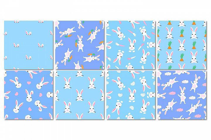 Funny bunnies. Set of seamless patterns.