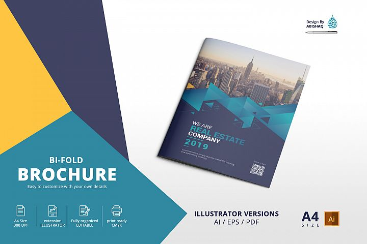 Bifold Brochure A4 Illustrator Template