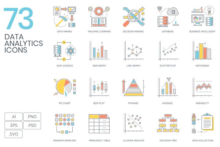 73 Data Analytics Color Line Icons