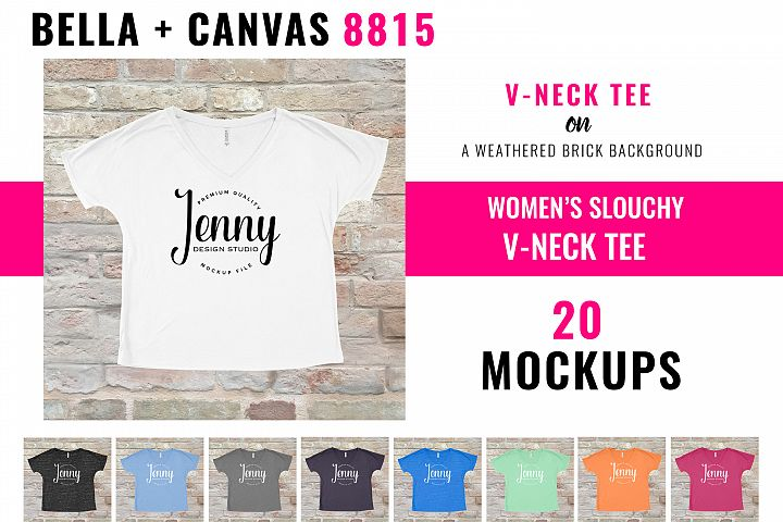 Bella Canvas 8815 Mockup Bundle, Womens Slouchy V-neck tee
