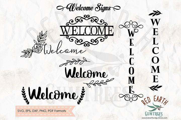Wlcome signs bundle, welcome decal in SVG,DXF,PNG,EPS,PDF