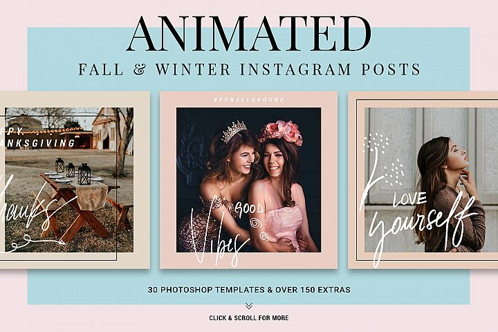 Holiday ANIMATED Instagram Posts - Fall & Winter Templates