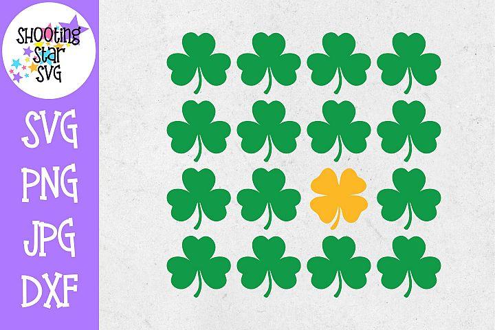 Four Leaf Clover in Shamrocks SVG - St. Patricks Day SVG
