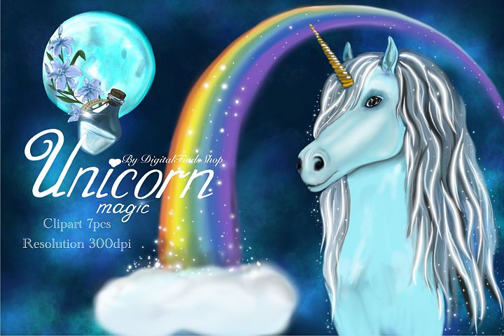 Unicorn clipart, fairy clipart, magic unicorn PNG PDF