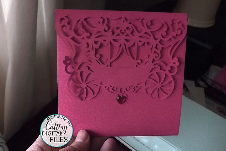 Princess 5x5 trifold envelope wedding invitation laser cut example image 3