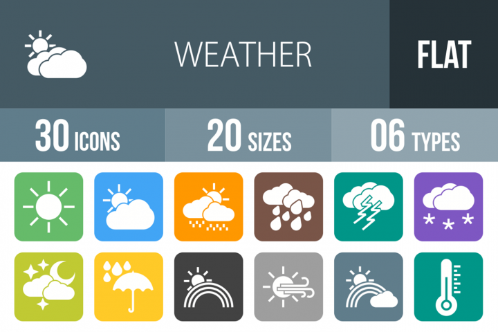 30 Weather Filled Round Corner Icons
