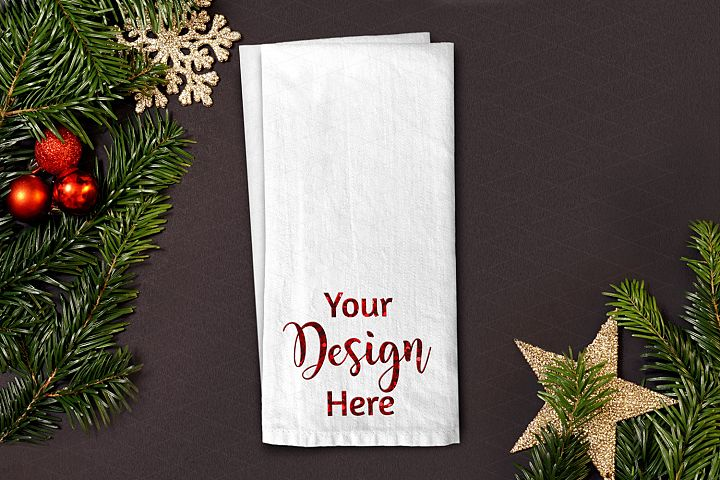 Christmas Dish Towel Flat Lay Mockup Star JPG