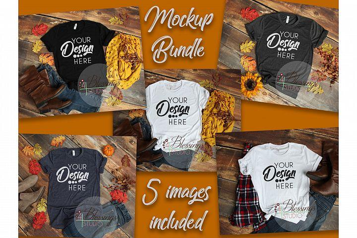 Fall Bella Canvas Mockup Bundle T Shirt Flat Lay 5 Images