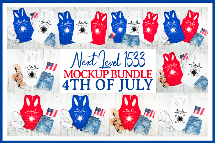 Next Level 1533 4th of July Mock Up Bundle Tank Top Flat Lay