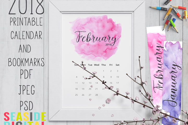 2018 Hand Paint Watercolor Calendar