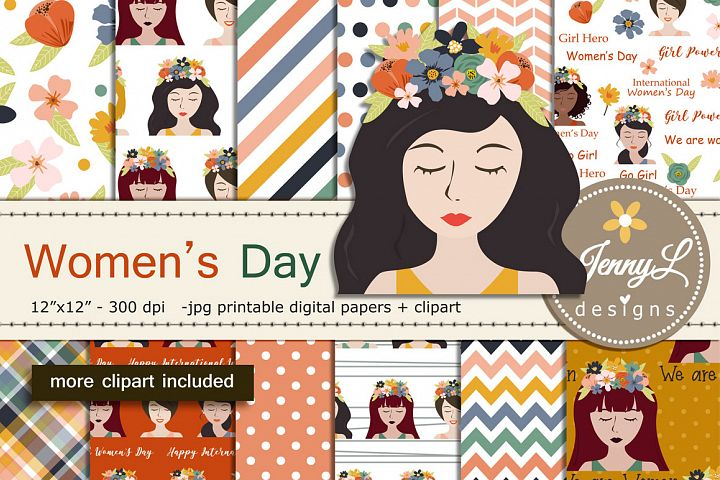 Womens Day Digital Papers and Clipart