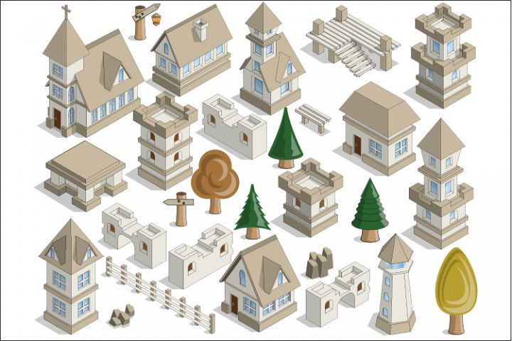A Set of Medieval Houses and Elements.