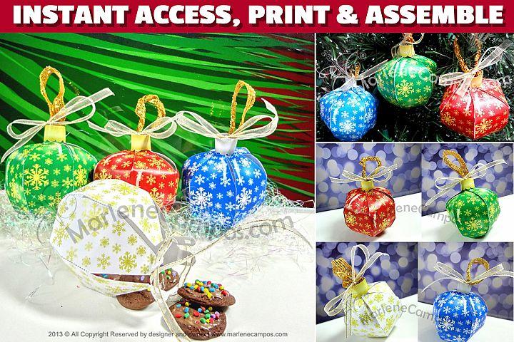 Christmas Ornaments Favor Boxes, SET of 4 PRINTABLE