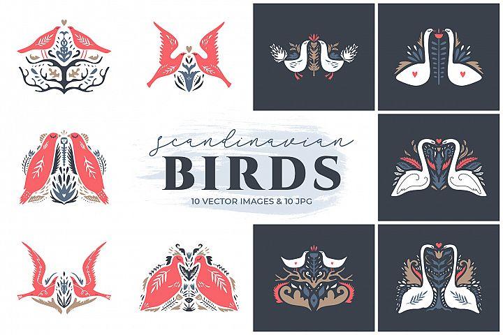 Scandinavian birds clip art set