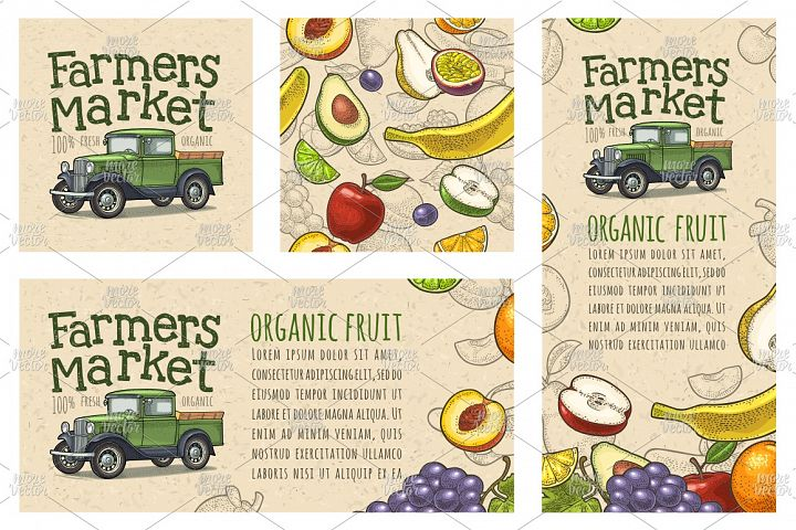 Posters and seamless pattern fruits, pickup truck engraving