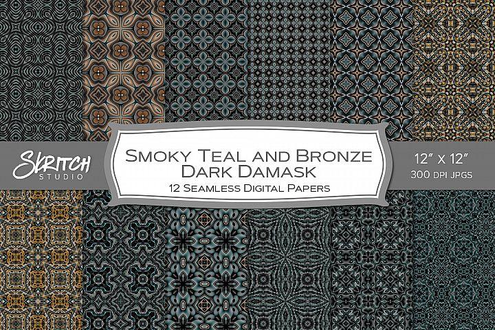 Smoky Teal & Bronze Dark Damask 12 Digital Tileable Patterns