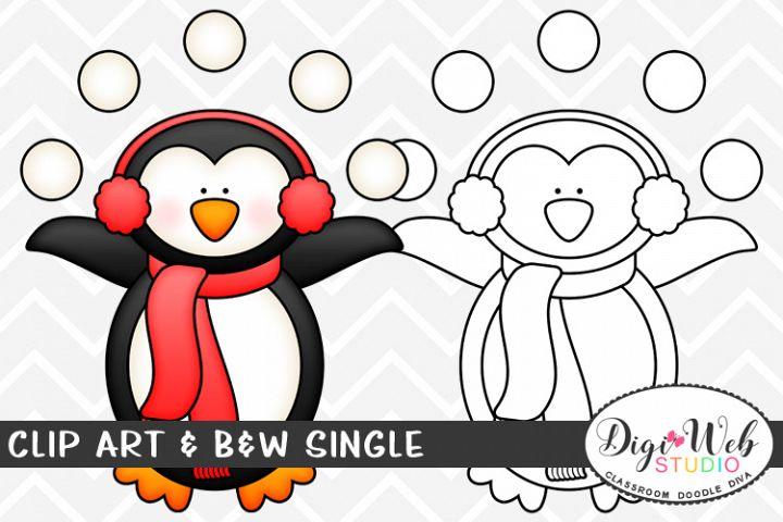 Clip Art & B&W Single - Winter Penguin Juggling Snowballs