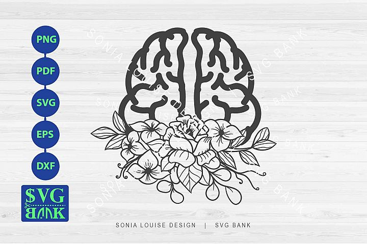 Half Brain Floral SVG, brain with flowers cut file
