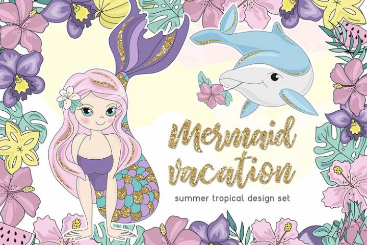 MERMAID VACATION Glitter Vector Illustration Set