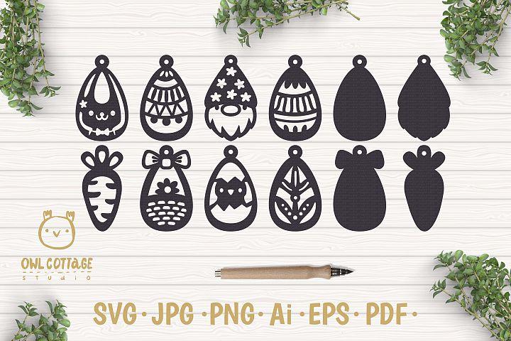 Easter Earrings Template Set SVG, Easter Clipart, Spring