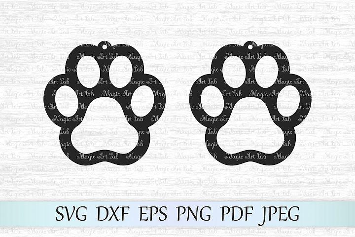 Paw Earrings svg, Earrings cut files, Earring templates svg