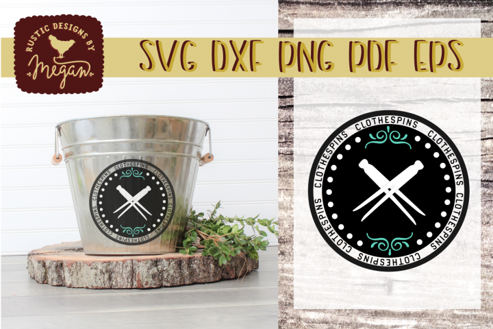 Rustic Farmhouse Clothespin Laundry Label svg dxf eps