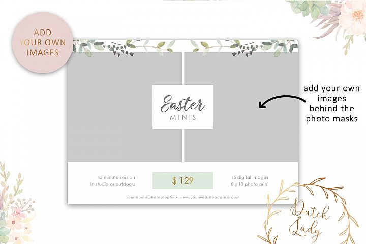 PSD Easter Photo Session Card Template - Design #50 example image 2
