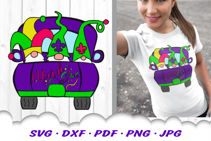 Mardi Gras Truck Gnomes Gnome Sublimation PNG