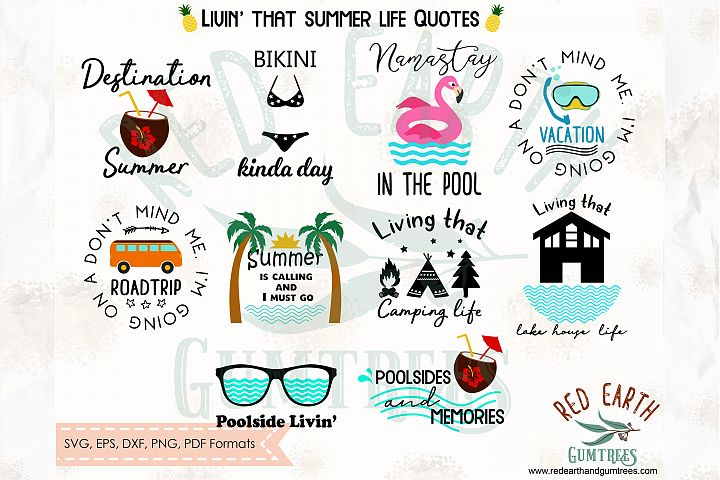 Summer quotes bundle, camping quote,Pool SVG,DXF,PNG,EPS,PDF