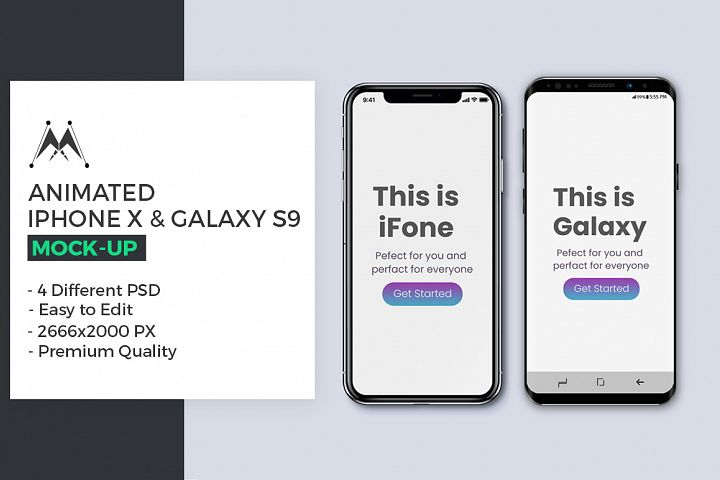 Animated iFone X & Galaxy S9 Mock-Up